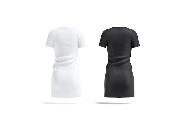Pusta czarno-biała sukienka makieta pusta tekstylna luźna koszulka lub suknia makieta na białym tle