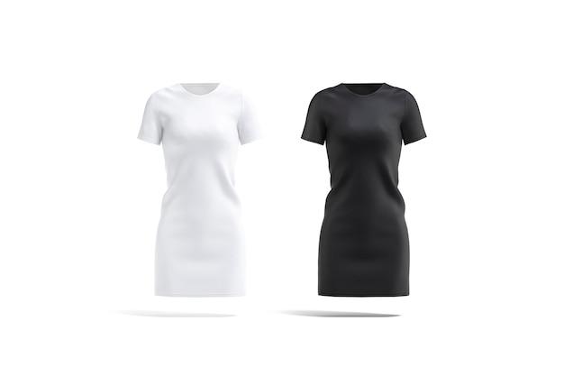 Pusta Czarno-biała Sukienka Z Tkaniny Makieta Zestaw Pusta Kobieca Odzież Wieczorowa Lub Makieta Stroju Na Białym Tle Premium Zdjęcia