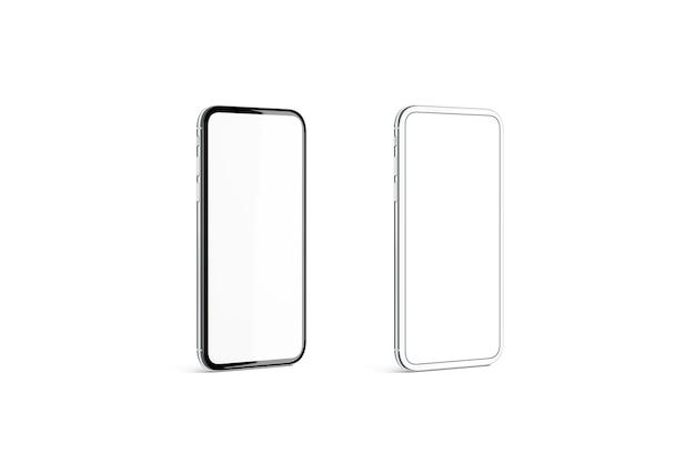 Pusta czarno-srebrna ramka telefonu z białym ekranem na białym tle, renderowania 3d.