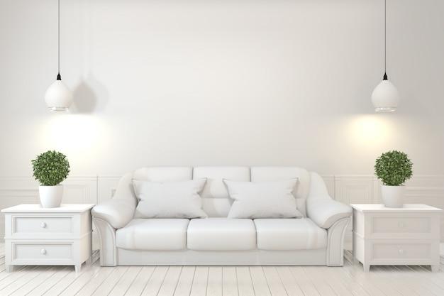 Pusta drewniana kanapa, roślina i lampa w pustym pokoju z białą ścianą.