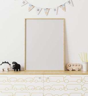 Pusta drewniana rama plakatowa makieta we wnętrzu pokoju dziecięcego z białą ścianą i flagami wianek niemowlę, komoda z nadrukiem na samochód, zabawki, wnętrze pokoju zabaw, renderowanie 3d