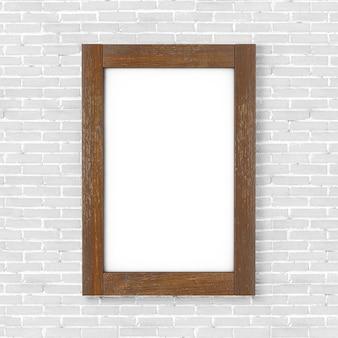 Pusta drewniana ramka na zdjęcia plakatu przed ścianą z białej cegły. renderowanie 3d