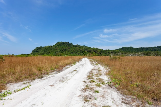 Pusta droga z piasku w pobliżu morza przez suche pola trawy na wsi na tle góry błękitne niebo.