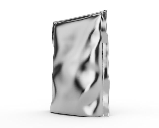 Pusta folia plastikowa biała torba na kawę na białym tle. kolekcja makieta szablonów opakowań. renderowanie 3d.gotowy do projektowania. renderowanie 3d
