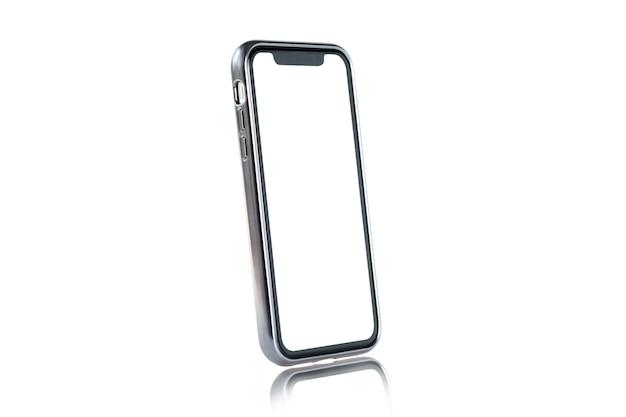 Pusta forma ramy smartfona z białym tłem dla dodać szablon infografikę lub prezentacji i reklamy. technologia i obiekt ze ścieżką przycinającą.