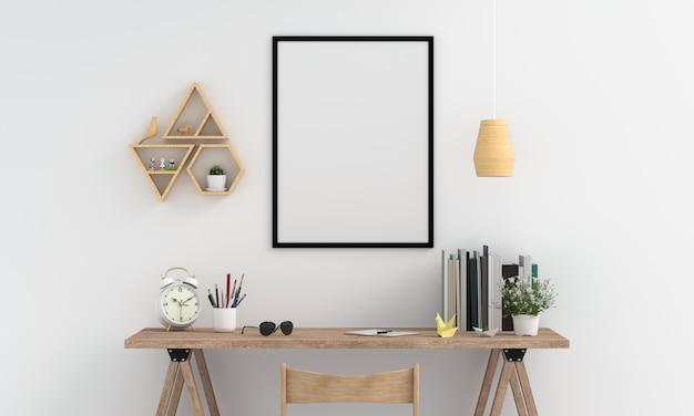 Pusta fotografii rama dla mockup na ścianie