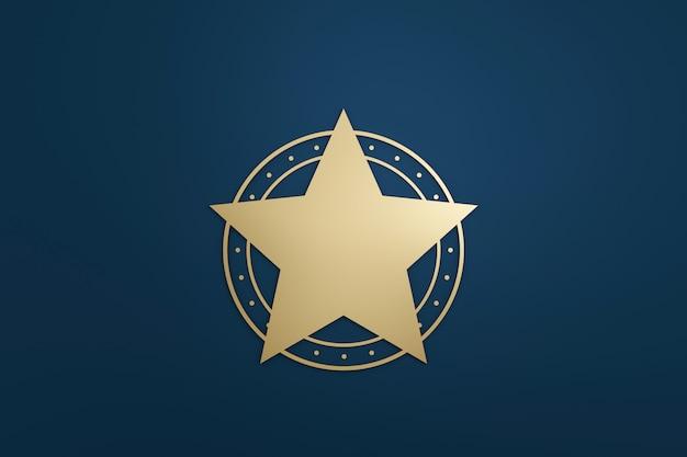 Pusta gwiazda logo lub emblemat znaczek w luksusowym stylu ze złotym kolorem na ciemnym niebieskim tle. renderowanie 3d.