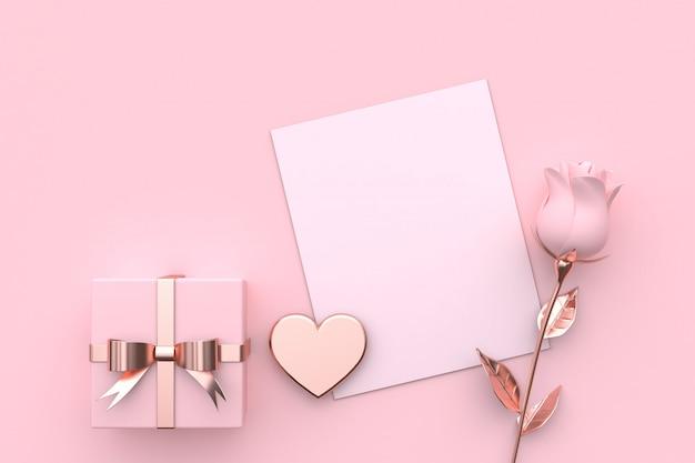 Pusta kartka papierowa makieta prezent na serce i róża różowa