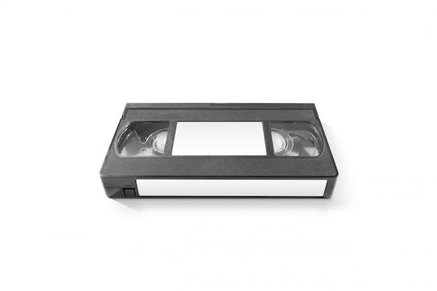 Pusta kaseta wideo z białymi naklejkami, odizolowana