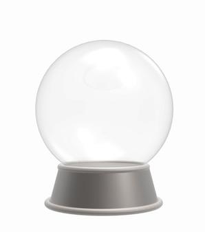 Pusta kryształowa kula, śnieżna kula ziemska odizolowywająca na białym tle /