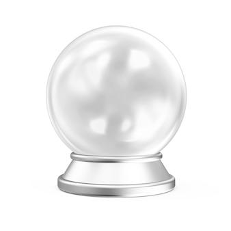 Pusta kryształowa kula ze srebrną podstawką