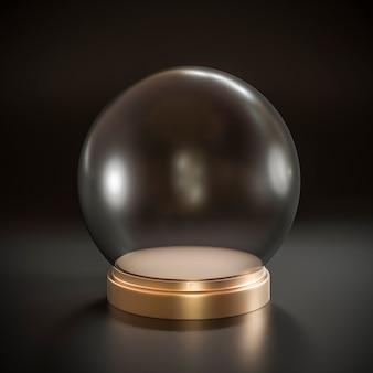 Pusta kryształowa kula ze złotą metalową podstawą.