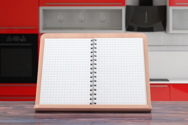 Pusta książka kucharska z wolnym miejscem na swój projekt na drewnianym uchwycie książki na drewnianym stole. renderowanie 3d