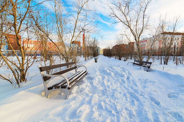 Pusta ławka w zaśnieżonym parku miejskim. zimowy.
