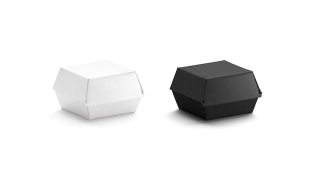 Pusta makieta czarno-białe pudełko z burgerami pusty pojemnik jednorazowy do dostarczania makiety na białym tle