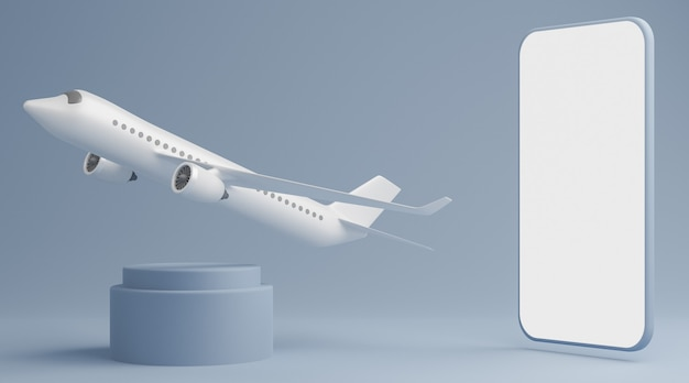 Pusta makieta na białym ekranie smartfona z okrągłym cokołem z samolotem