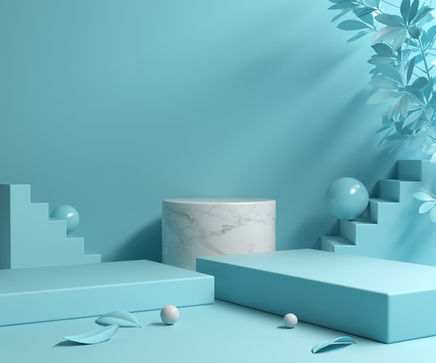 Pusta makieta podium z białego marmuru na niebieskiej scenie kolorów renderowania 3d