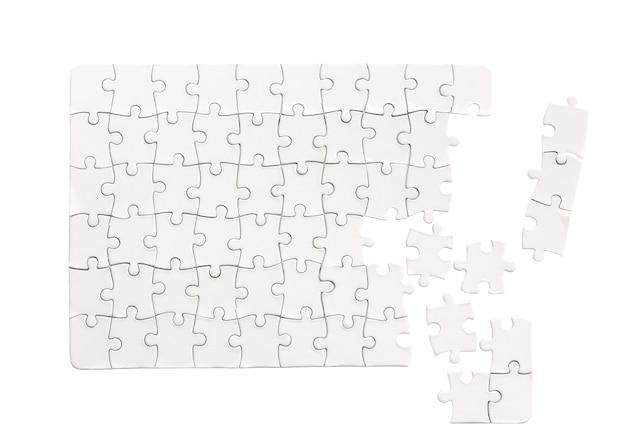 Pusta makieta prostokątna układanka na białym tle