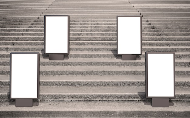Pusta makieta reklamowa na ulicy. billboard plakatowy z tłem schodów