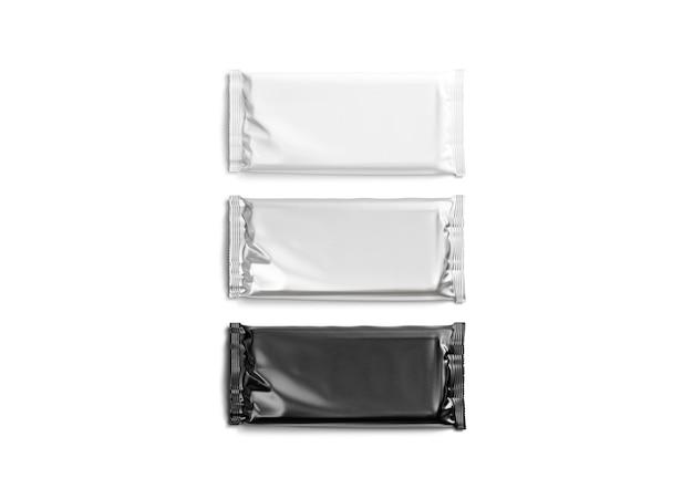 Pusta makieta z czarnej białej i srebrnej folii czekoladowej pusta makieta prostokątnego opakowania cukierków