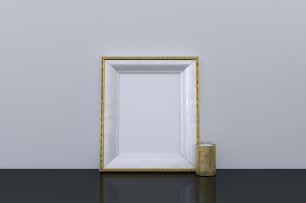 Pusta makieta złotej ramki ze świecą na podłodze