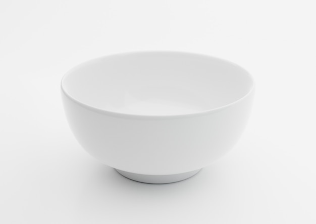 Pusta miska ceramiczna biała na białym tle, ilustracja 3d