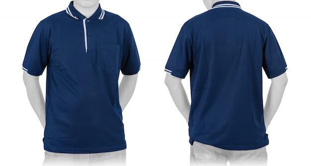 Pusta niebieska koszulka polo (przód, tył) na białym tle