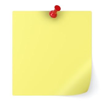 Pusta notatka i pinezka na białym tle - ilustracja 3d