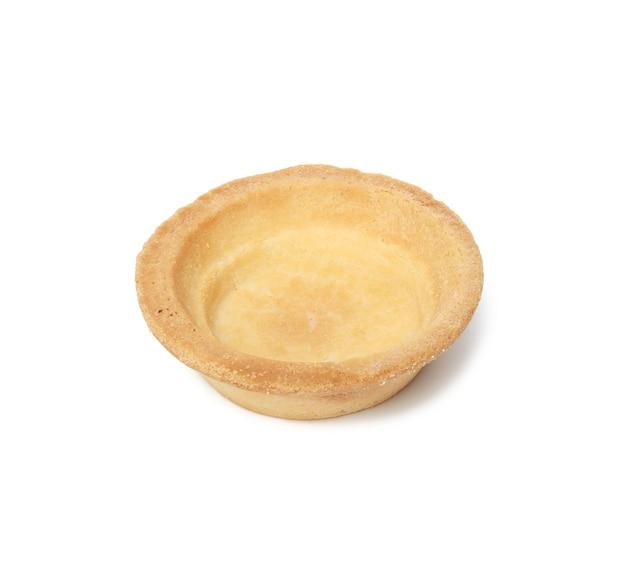 Pusta okrągła pieczona tartaletka, puste miejsce na dodatki, kanapki