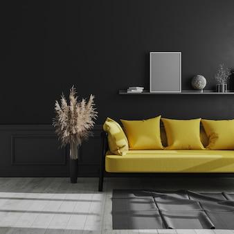 Pusta pionowa rama plakatowa makieta na półce w ciemnym nowoczesnym wnętrzu