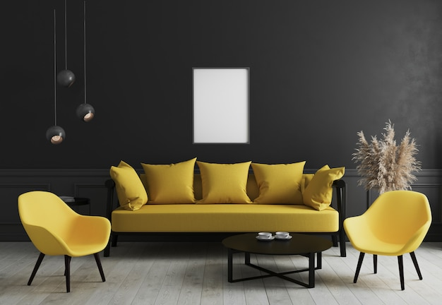 Pusta pionowa rama plakatowa makieta w nowoczesnym wnętrzu pokoju z czarną ścianą i stylową żółtą sofą i designerskim fotelem przy stoliku do kawy