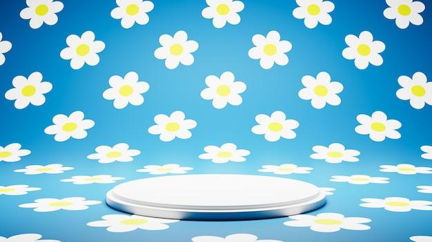Pusta platforma biała na studio kolorowe daisy pattern