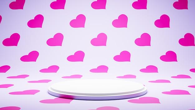 Pusta platforma biała na studio kolorowy wzór serca