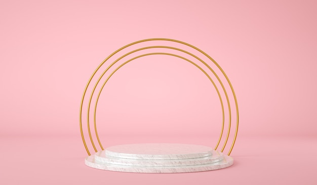 Pusta platforma do prezentacji produktów ze złotym pierścieniem render