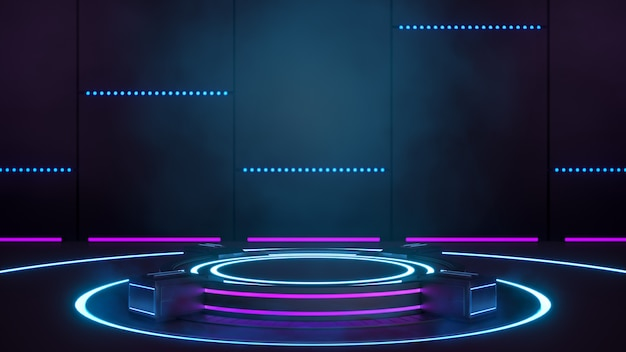 Pusta platforma w futurystycznej technologii sci-fi do prezentacji produktów