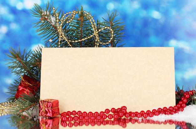 Pusta pocztówka, prezenty i choinka
