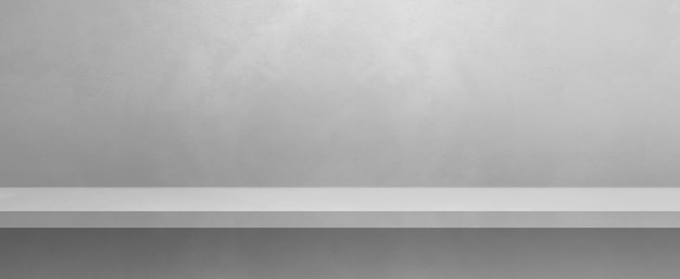 Pusta półka na białej ścianie. scena szablonu tła. baner poziomy