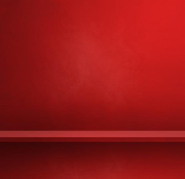 Pusta półka na czerwonej ścianie. scena szablonu tła. kwadratowy baner