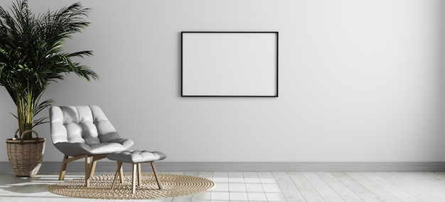 Pusta pozioma ramka na zdjęcia w jasnym nowoczesnym wnętrzu pokoju z szarym fotelem i palmą, pusta ściana wewnętrzna pokoju, skandynawski styl wnętrza pokoju makieta, renderowanie 3d