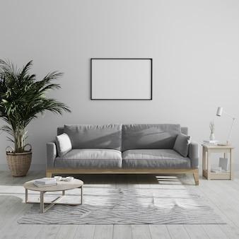 Pusta pozioma ramka na zdjęcia wzorowana na nowoczesnym minimalistycznym wnętrzu salonu z szarą sofą i palmą