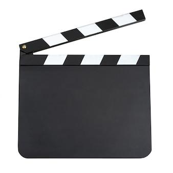 Pusta produkcja filmu klapy deska z miejsca kopiowania na białym tle dalej