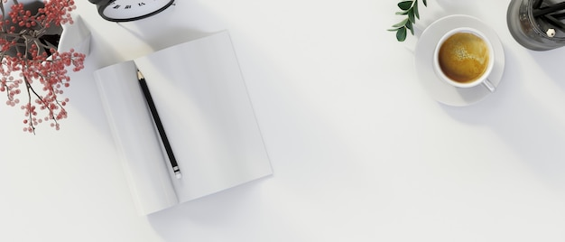 Pusta przestrzeń do wyświetlania produktu na białym tle z pustym notatnikiem renderowania 3d