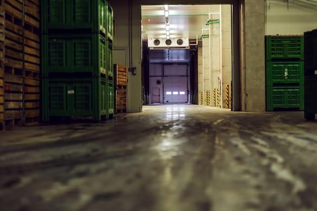 Pusta przestrzeń magazynowa z dużą ilością palet starannie ułożonych w fabryce