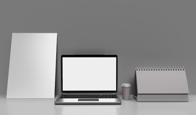 Pusta przestrzeń na drewnianym biurku z laptopem z pustym białym ekranem, stylowy obszar roboczy