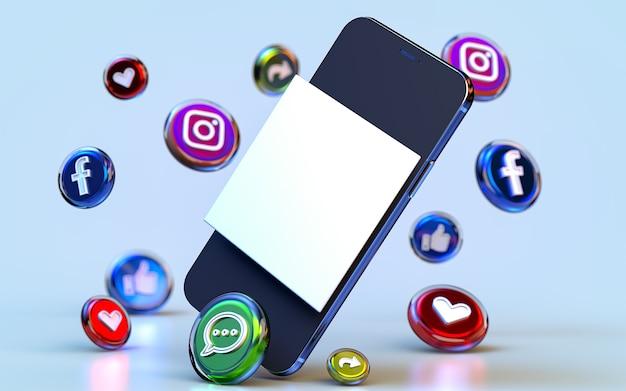 Pusta przestrzeń w mediach społecznościowych post makieta tło z ikoną renderowania 3d