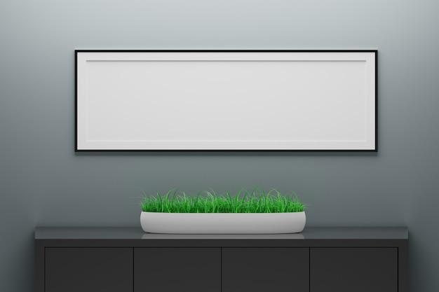 Pusta pusta długa rama wisząca na ciemnej ścianie nad szafką z rośliną doniczkową. ilustracja 3d.