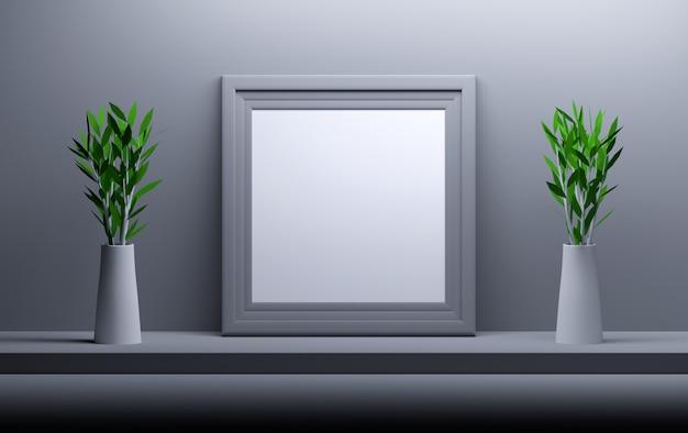 Pusta pusta kwadratowa ramka na zdjęcia i dwie wazony z kwiatami.