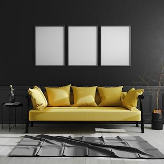 Pusta rama na czarnej ścianie, trzy pionowe ramki plakatowe makiety w ciemnym nowoczesnym wnętrzu z żółtą sofą, styl skandynawski, luksusowe wnętrze domu, renderowanie 3d