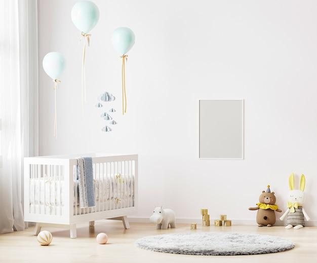 Pusta rama plakatowa na białej ścianie w tle wnętrza pokoju dziecinnego z pościelą dla dziecka