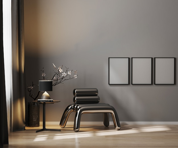 Pusta rama plakatowa na szarej ścianie w tle luksusowego wnętrza w ciemnych kolorach z metalowym fotelem